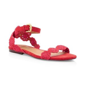 See by Chloe Kristy Flat Floral Suede Sandals NWOT